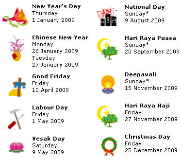 Public Holidays 2009 in Singapore - sgcGo