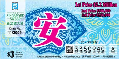 Singapore Sweep Nov Draw: $2.2 Million