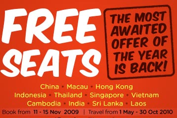 AirAsia Online Booking Promotion: FREE Seats till Nov 15, 2009