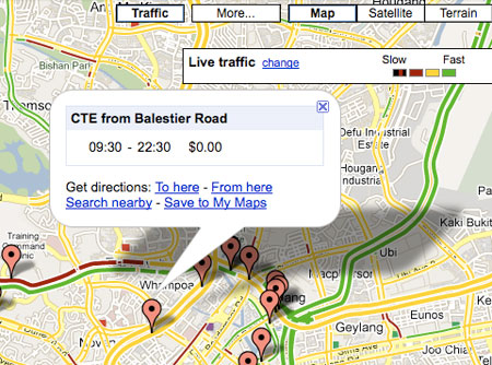Singapore ERP Info on Google Maps