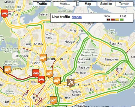Singapore Traffic Incidents on Google Maps