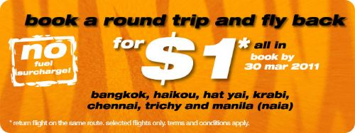 Tiger Airways Promotion: fly back for $1 all-in till March 30 2011