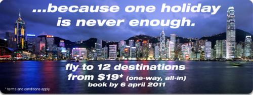 Tiger Airways Promotions: fr $19 one-way till 6 Apr 11