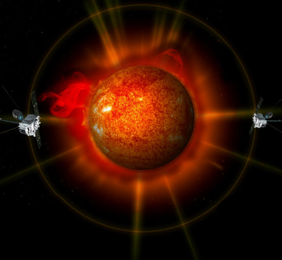 An artist's concept of STEREO surrounding the sun.