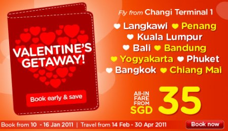 AirAsia 2011 Valentine's Getaway! Book by 16 Jan 2011
