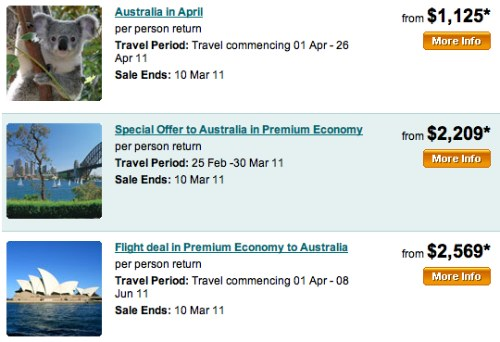 Air New Zealand: Feb Deal to Australia 2011
