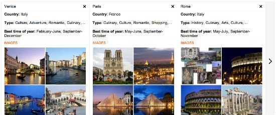 Bing Travel Compare Destinations