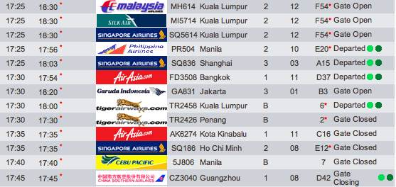Changi Airport Departure Flight Info