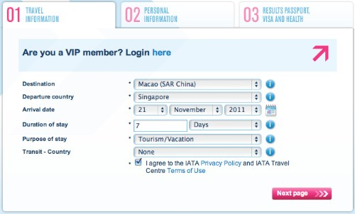 IATA TravelCenter Advice Tool