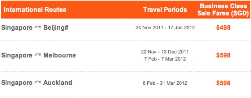 Jetstar Business Class Sale Fare