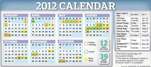 Official Singapore Public Holidays 2012 - sgcGo