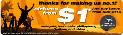 Tiger Airways airfares from $1!