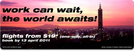 Tiger Airways: airfares fr $19 all-in till Apr 13 2011