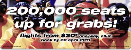 Tiger Airways Promotion: fr $20 till Apr 20 2011