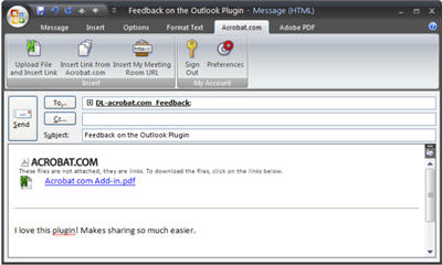 Microsoft Outlook 2007 Plugin to Send Large Files