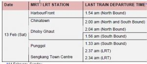 MRT and Buses Extension on Chinese New Year 2010