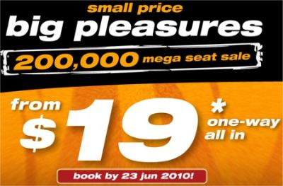 Tiger Airways Mega Seat Sale: fr $19 one way (till Jun 23 2010)