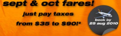 Tiger Airways Oh $0 cheap! 15,000 seats slashed for Sept & Oct 2010!