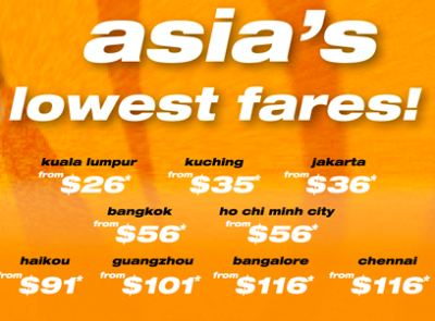 Tiger Airways offers Asia's lowest fares from $26 till 6 Oct 2010