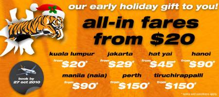 Tiger Airways all-in fares from $20 till 27 Oct 2010!