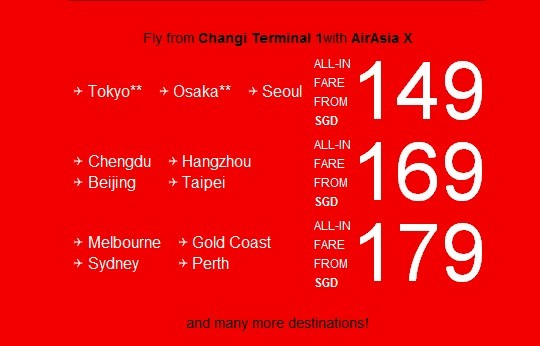 AirAsia: Special Offers Flying From Changi Terminal