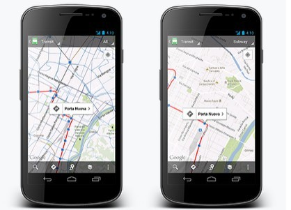 Left:Mobile map with all modes of public transit shown; Right: Transit Lines layer in Subway mode
