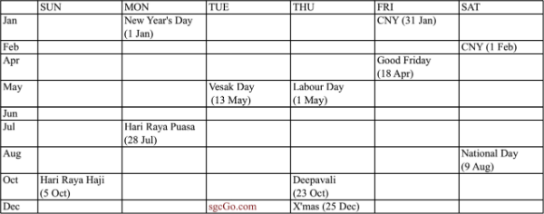 Singapore Public Holiday 2014